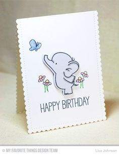 Adorable Elephants, Stitched Mini Scallop Rectangle STAX: MFT, critter sketch, small card