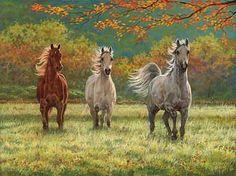 Autumn Meadow-Horses  Original Painting by Chris Cummings