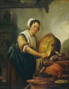 Abraham van Strij (Dutch artist, 1753-1826) Cleaning up in the Kitchen