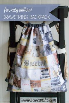 Make a lined drawstring backpack! This easy project is perfect for beginners. Quilt weight cotton is the perfect material. You could also substitute a heavier fabric for the exterior.