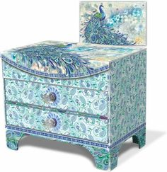 Paisley Peacock 2-Drawer Jewelry Chest