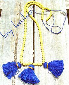 Handmade necklaceLong yellow Beaded Tassel Necklaceethnic