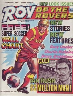 We take a look through the archive of Roy of the Rovers, football's comic-book role model Ian Rush, Martin Kemp, Moving To Italy, Million Men, Free Stories, Picture Story, The Headlines, Comic Character