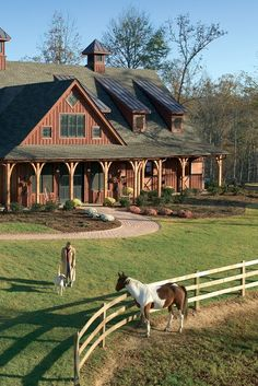 magnificent post-and-beam barn, multiple pastures with shelters, and a riding arena and pen. Barndominium, Dream Barn, My Dream Home, Horse Barns, Horses, Horse Stables, Horse Barn Decor, Horse Paddock, Patio Grande