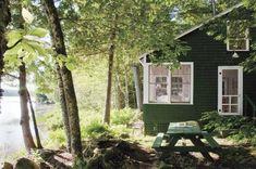 lakeside cabin with green shingles & white trim, Belfast Maine