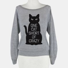 #cat #vintage #shirt One Cat Short of Crazy