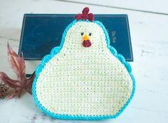 Crochet chicken potholder hen hot pad pale green by crotchetymama, $17.00