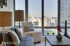 Our Pacific Apartment in the West End of Vancouver has stunning views, lux decor, and beautiful furnishings Stunning View, Beautiful, Furnished Apartment, West End, Business Travel, Vancouver, Curtains, Apartments, Home Decor