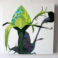 Marjut Siro, Ruusukaali 2015, akryyli kankaalle 60 cm x 60 cm Rose Buds, Plant Leaves, Paintings, Plants, Paint, Painting Art, Planters, Painting, Painted Canvas
