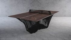 the solid steel printed structure designed by stelios mousarris gives stability to the whole table and will withstand even the strongest ping pong shots Table Ping Pong, Walnut Table Top, Dinning Table, Steel Structure, Table Games, Plexus Products, Custom Furniture, Light Decorations, 3d Printing