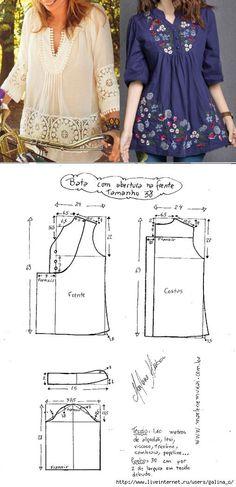 La túnica con la manga 3\/4. El patrón la dimensión 36-50 (la Costura y el corte) | la Revista la Inspiración de la Laborera