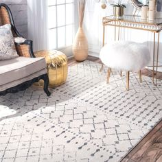 nuLOOM Geometric Moroccan Bead Pattern Grey/ White Rug (6'7 x 9')   Overstock.com Shopping - The Best Deals on 5x8 - 6x9 Rugs