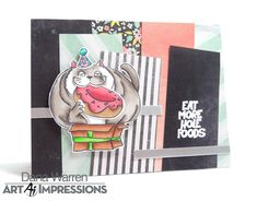 Art Impressions: Eat More Hole Foods! Distress Markers, Alcohol Markers, Art Impressions, Cat Cards, Handmade Birthday Cards, Crafty Projects, Kraft Paper, Stamp Sets, Paper Piecing