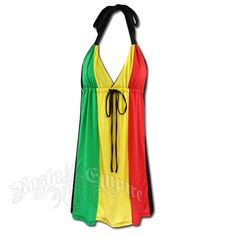 Rasta and Reggae 3 Panel V Neck Halter Short Dress #rasta #reggae