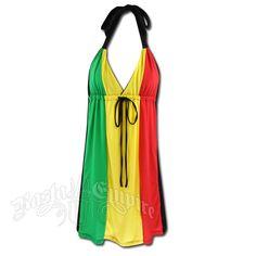 Rasta and Reggae 3 Panel V Neck Halter Short Dress #rasta #reggae