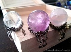 Mystical Crystal Ball Rings - Amethyst Ring  - Fortune Teller  - New Age Jewelry - Pagan Supplies - Healing Crystal - Crystal Ball on Etsy, $25.00