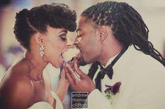 Robin & Nikki enjoying that first slice of cake   www.thelovedeluxe.com    #naturalhair #blacklove #naturalblackhair #locs #blackwedding #wedding #love