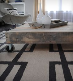 Reclaimed Wood Coffee Table with Casters | Raka Mod
