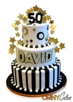 Black White And Gold 50th Birthday Cake More 60th