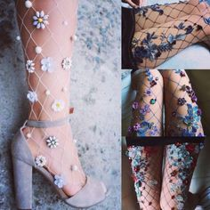 🌸Harajuku-Vogue🌸 🌸Ulzzang🌸 – Flowers makes everything more perfect - shoes sport women Fashion Socks, Fashion Outfits, Womens Fashion, Fishnet Tights, Sparkly Tights, Diy Clothes, Ulzzang, Ideias Fashion, Fashion Accessories