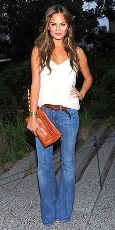 All-American Style - flare jeans, white tank, caramel leather clutch