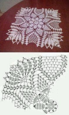 60 ideas crochet lace square pattern doilies for 2019 Crochet Doily Diagram, Crochet Doily Patterns, Crochet Chart, Crochet Squares, Thread Crochet, Crochet Motif, Crochet Designs, Crochet Stitches, Filet Crochet