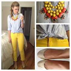 Yellow Skinny Jeans. Aside from the knot in the shirt, I love it.
