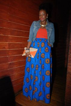 African Maxi Skirt with pockets by MelangeMode on Etsy, $105.00
