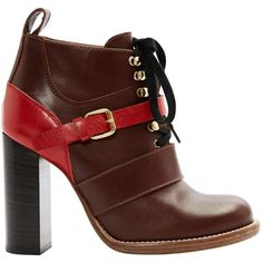 Pre-owned Chloé Leather Lace Up Boots ($235) ❤ liked on Polyvore featuring shoes, boots, ankle booties, brown, women shoes ankle boots, buckle ankle boots, brown boots, leather boots, leather lace up bootie and leather ankle boots