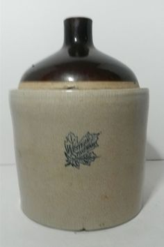 Antique 2 Gallon Western Stoneware Company Maple Leaf Crock Shoulder Jug #Jug #WesternStonewareCo