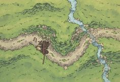 The Twisting Trail, a battle map for D&D / Dungeons & Dragons, Pathfinder, Warhammer and other table top RPGs. Tags: ambush, bandit, battle map, mountain, plains, river, road, wilderness