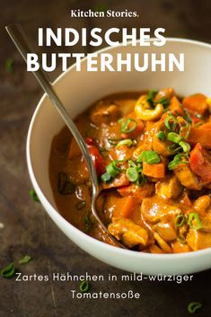 Butterhuhn in mild-würziger Tomatensoße - *Curry - Rezepte* - Chicken Recipes Spicy Tomato Sauce, Tomato Sauce Recipe, Sauce Recipes, Chicken Recipes, Cooking Recipes, Butter Chicken Curry, Chicken Sauce, Sauce Tomate, Kitchen Stories