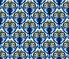 Modern suzani in blue fabric by tukkki on Spoonflower - custom fabric