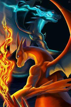 Mega Charizard x 2 - pokemon - Pokemon Kalos, Gif Pokemon, Pokemon Poster, Pokemon Fusion Art, Pokemon Dragon, Pikachu Art, Pokemon Eeveelutions, Pokemon Charizard, Cute Pikachu
