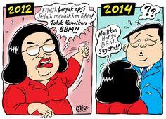 Mice Cartoon, Rakyat Merdeka, August 2014: Beda BBM 2012 dan 2014