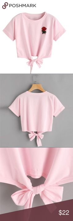 Rose embroidered tie crop top Light pink rose embroidered tie crop top Material: cotton blend    Boutique brand   Kylie, Kylie Jenner, LF, nasty gal, missguided, asos, pac sun, fashion nova, TopShop, urban outfitters, Zara, forever 21, kendall and Kylie, American Rag LF Tops