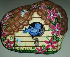 Hand Painted Rock by LP Blue Bird House Butterflies Flowers Painting Art