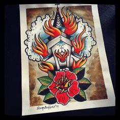 Burning church tattooflash print on Etsy, €10,00