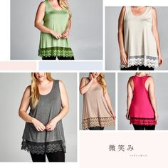 """CAMI LACE EXTENDER TOPS! SIX COLORS! Everybody loves them and I'm thrilled with these! Long enough to help that too short top and with gorgeous lace! If you wear it as a cami by itself, you've got a very nice racerback detail! Love these. APPLE GREEN, HOT PINK, OAT, CHARCOAL, MOCHA & BLACK. Made in USA PLEASE DO NOT BUY THIS LISTING! I will personalize one for you.♦️1X: bust 40"""" ♦️2X: 43""""♦️Stretches about 5-6 inches3X SOLD OUT tla2 Tops Camisoles"""