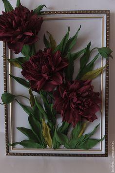 Купить картина пионы - бордовый, пион из фоамирана, подарок для женщины, пионы, интерьерная картина, фоамиран