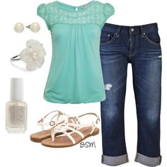 cute and casual outfit, created by berrysweetmama on Polyvore