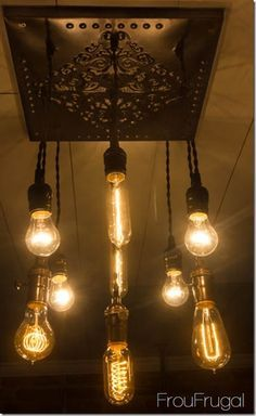 Shane - This is going to be our Christmas break project! Bare Edison Bulb Chandelier with Lights On Wine Glass Chandelier, Edison Bulb Chandelier, Edison Lampe, Edison Lighting, Diy Chandelier, Pendant Lighting, Edison Bulbs, Tin Ceiling Tiles, Deco Originale