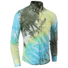 12.87$  Buy now - http://di85l.justgood.pw/go.php?t=162222703 - One Patch Pocket 3D Tie-Dye Slimming Shirt Collar Long Sleeves Men's Ombre Button-Down Shirt