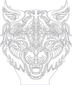 3D illusion wolf head premium vector drawing