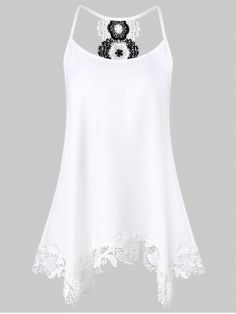 0414c76d816 Shop for White 2xl Spaghetti Strap Floral Lace Trapeze Tank Top online at   14.15 and discover