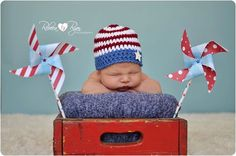 Red White Blue July 4th Baby Hat Stars and Stripes by NeedleKrazy, $18.00