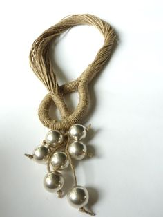 Contemporary Natural Linen Necklace with Silver by Cynamonn, $55.00