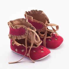 The shoe maker and the Elves!  Leather baby shoes from red and beige polka dot suede by Vibys