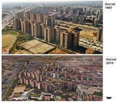 Vista aérea de la zona Gornal y Bellvitge, año 1987 y 2015
