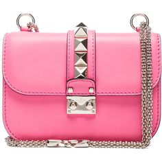 Valentino Small Lock Flap Bag in Fluo Pink (118.785 RUB) ❤ liked on Polyvore featuring bags, handbags, shoulder bags, purses, accessories, bolsas, fluorescent pink, leather handbags, pink shoulder bag and pink shoulder handbags